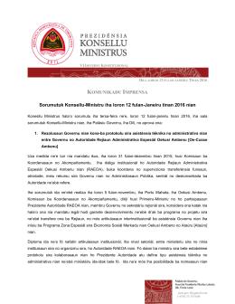 Sorumutuk Konsellu-Ministru iha loron 12 fulan