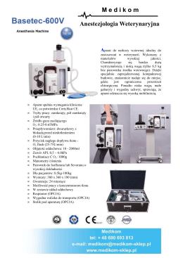 Anestezjologia Weterynaryjna M edikom Aparat