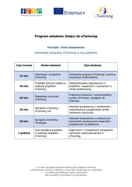 Program szkolenia Dołącz do eTwinning