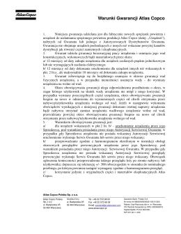 Warunki gwarancyjne Atlas Copco 2015
