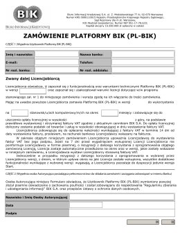 zamówienie platformy bik (pl-bik) - Biuro Informacji Kredytowej SA