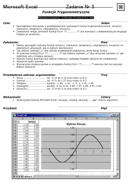 Microsoft Excel Zadanie Nr 5