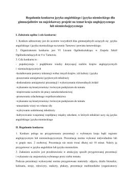 Regulamin konkursu języka angielskiego i języka