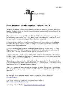 Press Release - Introducing Agaf Design to the UK