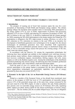 PROSUMER ON THE ENERGY MARKET: CASE STUDY