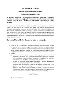 Zarządzenie Nr 71/2015 Burmistrza Miasta i Gminy Krzywiń z dnia