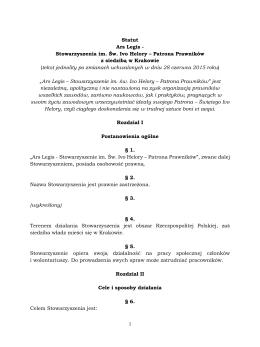 Statut Ars Legis - Stowarzyszenia im. Św. Ivo Helory – Patrona