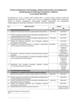 Terminy: postępowania rekrutacyjnego, składania dokumentów oraz
