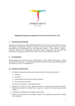 Regulamin konkursu na plakat TRANSATLANTYK Festival 2015