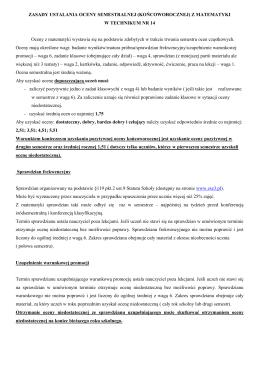 zasady ustalania oceny semestralnej (końcoworocznej) z