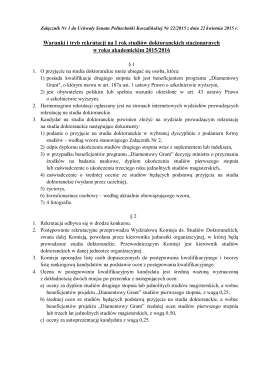 Zasady rekrutacji na studia doktoranckie na Wydziale