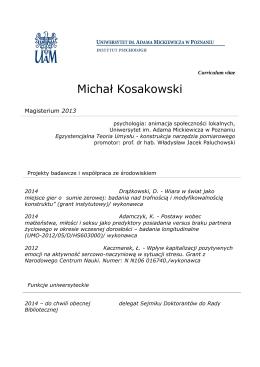 Michał Kosakowski - Uniwersytet im. Adama Mickiewicza