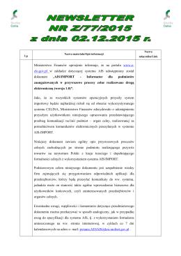 Z/77/2015 - Portal Systemów Celnych