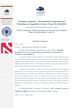 Scrinium Augustini – International Symposium