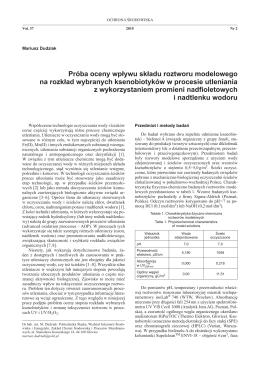 Próba oceny wpływu składu roztworu - Ochrona Środowiska