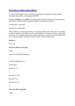 materiał php instrukcje dołączania