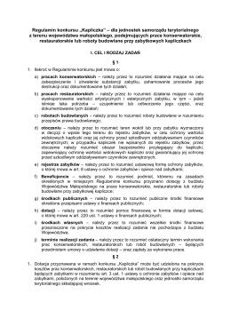 "Regulamin konkursu ""Kapliczka"" – dla jednostek samorządu"