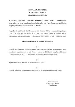 UCHWAŁA Nr XIII/123/2015 RADY GMINY DĘBICA