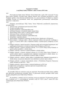 1 Protokół Nr VI/2015 z sesji Rady Gminy Wolanów z dnia 31 marca