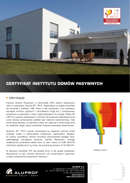 Certyfikat instytutu Domów PasywnyCh