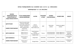 Lista podręczników kl. 1