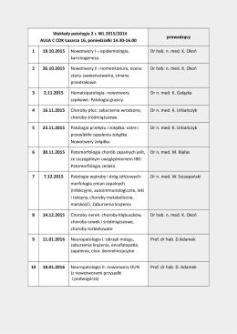 Wykłady patologia 2 r. WL 2015/2016 AULA C CDK Łazarza 16
