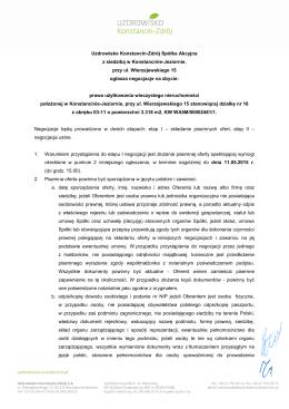 Warunki zbycia nieruchomości dz. nr 16 z obr. 03