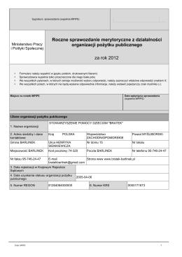 Roczne sprawozdanie merytoryczne z działalności organizacji