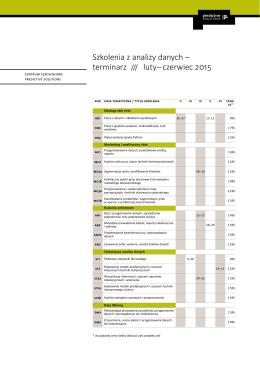 Szkolenia z analizy danych – terminarz /// luty – czerwiec 2015