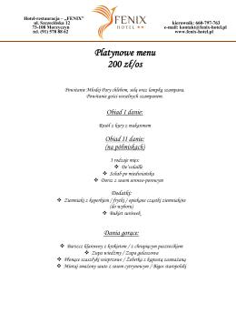 Platynowe menu 200 zł/os