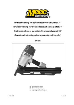 Bruksanvisning för tryckluftsdriven spikpistol 34