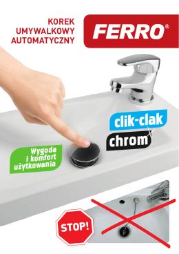 Korek umywalkowy automatyczny Clik-clak