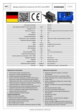 Karta katalogowa agregatu wyciszonego