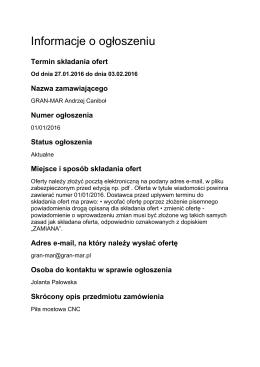 Informacje o ogłoszeniu - Gran-Mar, Skrzyszów k/Wodzisławia