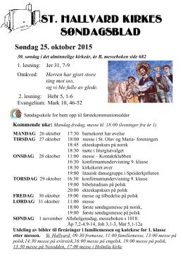 Søndagsblad for 25. oktober 2015