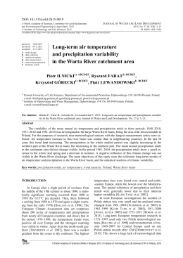 Long-term air temperature and precipitation variability in the Warta