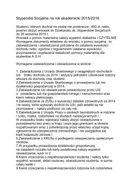 Stypendia Socjalne na rok akademicki 2015/2016 - IMiR