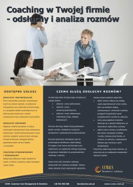 Coaching w Twojej firmie - odsłuchy i analiza rozmów telefonicznych