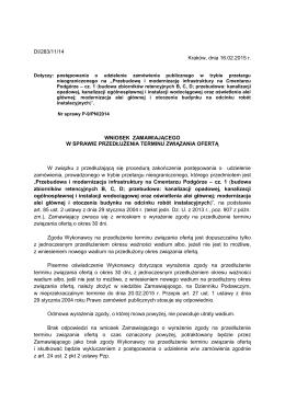 DI/283/11/14 Kraków, dnia 16.02.2015 r. WNIOSEK