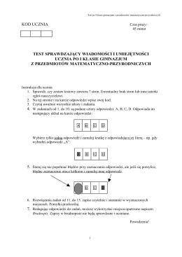 Test matematyczno-przyrodniczy po I klasie Gimnazjum