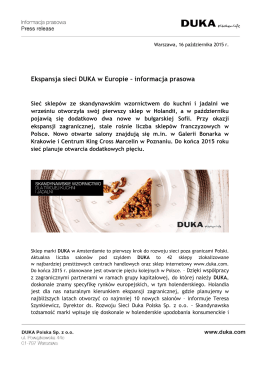 Ekspansja sieci DUKA w Europie – informacja prasowa