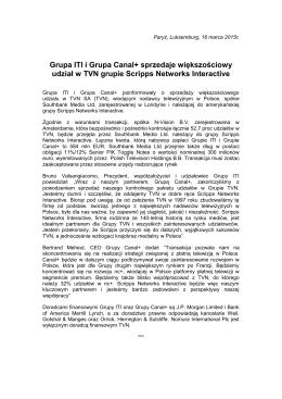 Grupa ITI i Grupa Canal+ sprzedaje większościowy udział w TVN