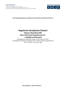 Regulamin Zarządzania Danymi