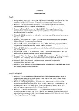 PUBLIKACJE Dominika Maison Książki 1. Pawlikowska, K., Maison, D.