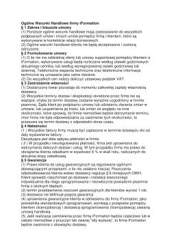Ogólne Warunki Handlowe firmy iFormation § 1 Zakres i klauzula