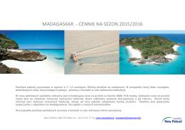 Madagaskar - cennik 2015/2016