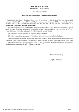 Uchwała 98/XII/15 Rady Gminy Nowa Ruda z dnia 24 listopada