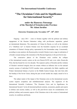 """The Ukrainian Crisis and its Significance for International"
