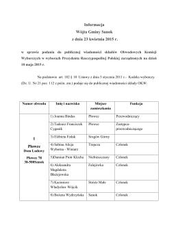 Informacja Wójta Gminy Sanok z dnia 23 kwietnia 2015 r. w sprawie