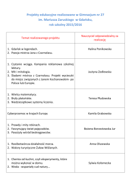 Tematy projektów - Gimnazjum nr 27 w Gdańsku